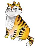 Funny cat cartoon drawing surprised runs Stock Photo