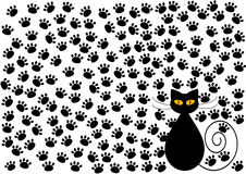 Funny cat and cats paws background Royalty Free Stock Photo