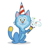 Funny cat celebrates birthday vector Stock Images
