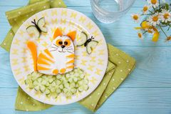 Funny cat cheese sandwich Royalty Free Stock Photos