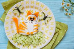 Funny cat cheese sandwich Stock Images