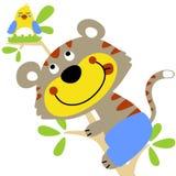 Funny cat. Climb a tree to take birds egg, vector cartoon illustration Royalty Free Stock Photos