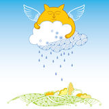 Funny cat with cloud. Series of comic cats Stock Photo