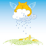 Funny cat with cloud. Series of comic cats Royalty Free Stock Photography