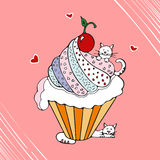 Funny cat with cupcake hand drawn vector illustration. Royalty Free Stock Photo