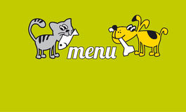 Funny cat and dog eating food. Royalty Free Stock Images