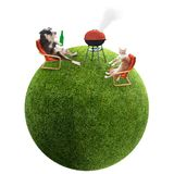 A funny cat and dog having bbq on grass ball. Funny cat and dog having bbq and picnic on grass ball. Isolation as additional in png format stock photo