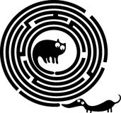 Funny cat and dog maze vector illustration