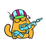 Funny cat fantastic soldier with impulse rifle. Vector illustration stock images