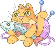 Funny cat with fish Stock Images
