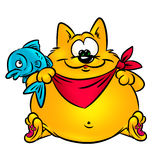 Funny cat and fish Royalty Free Stock Photos