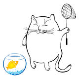 Funny cat with fish net. Series of comic cats. Funny cat with fish net. Series of comic cats Stock Image