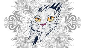 Funny cat in floral background doodle for adult stress release coloring page. Hand drawn cat doodle for adult stress release coloring page vector illustration