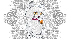 Funny cat in floral background doodle for adult stress release coloring page. Hand drawn cat doodle for adult stress release coloring page Stock Image