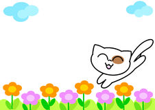 Funny cat with flowers stock illustration