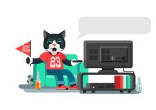 Funny cat is a football fan, yell, watch TV, and drink beer. Funny cat is a football fan, yell, watch TV Royalty Free Stock Photo