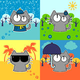Funny cat in four seasons set Royalty Free Stock Image