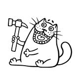 Funny cat and hammer. Vector illustration stock photography