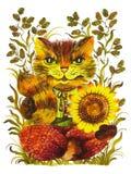 Funny cat. Hand drawn, , illustration in Ukrainian folk style stock illustration
