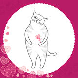 Funny cat with heart in the round frame. Series of comic cats Royalty Free Stock Photo