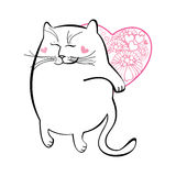 Funny cat with heart. Series of comic cats Stock Images