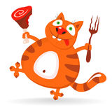 Funny cat likes meat - illustration Stock Photography