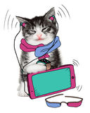 Funny cat loves his gadgets Stock Photography