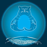 Funny cat in meditation over land. Series of comic cats Royalty Free Stock Photography