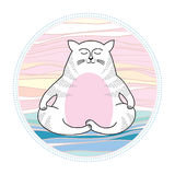 Funny cat in meditation. Series of comic cats Royalty Free Stock Photo