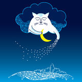 Funny cat with moon and stars. Series of comic cats Stock Photography