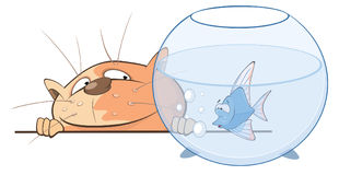 Funny Cat Playing with Nice Fish. Cartoon Character.  Illustration. The red cat looks at fish in an aquarium Royalty Free Stock Photography