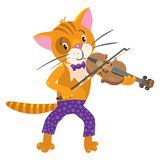 Funny cat plays the violin Stock Photos