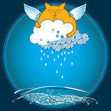 Funny cat with rainy cloud. Series of comic cats Stock Images