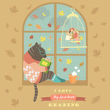 Funny cat reading by the window. Vector illustration Royalty Free Stock Photos