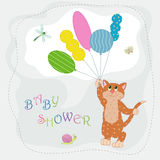 Funny cat. Funny red cat with bright balloons Royalty Free Stock Images