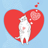 Funny cat with red heart. Series of comic cats Stock Photography