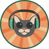 Funny cat in a retro style Stock Photos