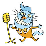 Funny cat singing a song. vector illustration Stock Photography
