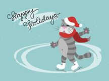 Funny cat skates in Santa`s hat, with a scarf. Ice rink vector illustration. royalty free illustration