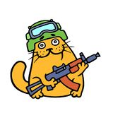 Funny cat special forces armed and ready for battle. Vector illustration. royalty free stock photo
