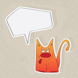 Funny cat with speech bubble Stock Image