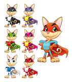 Funny cat super hero. Vector cartoon isolated characters vector illustration