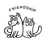 Funny cat Tik and his friend dog Kik Stock Photos