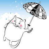 Funny cat on the umbrella. Series of comic cats. Stock Image