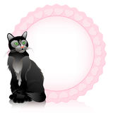 Funny cat. Vector background. Funny black cat in the pink circle. Vector illustration Stock Illustration