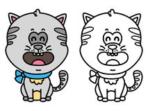 Funny cat. Vector illustration coloring page of happy cartoon cat for children, coloring and scrap book Royalty Free Stock Photography