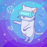 Funny cat with VR helmet in a virtual reality outer space royalty free illustration