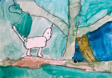 Funny cat walking in forest childish drawing art Royalty Free Stock Photo