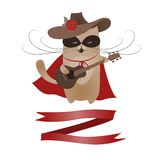 Funny cat Zorro Valentine. Vector romantic greeting card Royalty Free Stock Photos