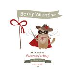Funny cat Zorro Valentine. Vector romantic greeting card Royalty Free Stock Photography